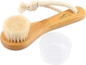 Facial Cleansing Brush, Horsehair Exfoliator Face Brush for Exfoliation, Natural Ultrasoft Horsehair Bristle Bamboo Handle Washing Brush for Exfoliating, Massaging, Removing Blackhead.