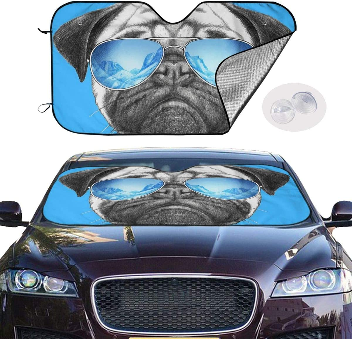 Fits Windshields of Various Sizes Sunshade to Keep Your Vehicle Cool and Damage Free,Easy to Use Blocks UV Rays Sun Visor Protector Pug Wearing Dark Glasses Car Windshield Sun Shade