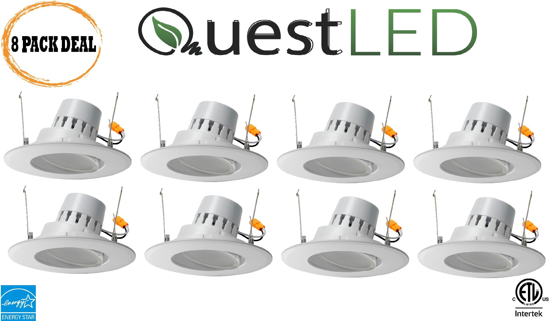 Quest Premium LED 5/6 Inch 16.5W, 3000K Adjustable Rotating Downlight Retrofit Recessed (100w Equivalent) 1200Lumens 120V Flood; HIGH CR >90I; Damp Location; 5 Yr Warranty ETL Energy Star- 8 Pack by Quest