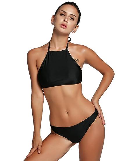 c59ff50bd4f9f Amazon.com  Goodfans Girls Bikini Black Bikini Bottoms Swimming wear Women  Sets  Clothing