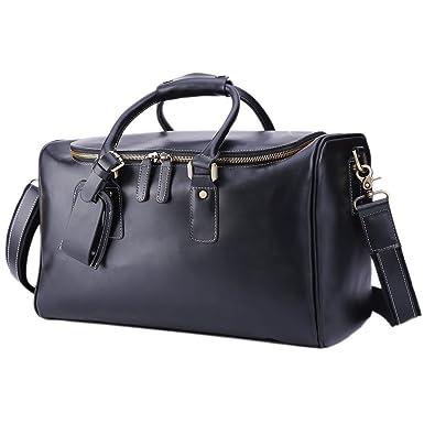 Amazon.com | BAIGIO Men's Vintage Leather Travel Duffel Overnight ...