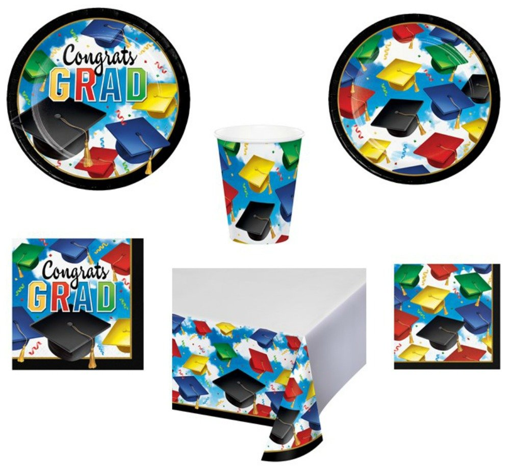 Graduation Celebration Party Supplies for 50 Guests 6-Piece Bundle Includes Disposable Plates, Napkins, Cups, and Tablecloth