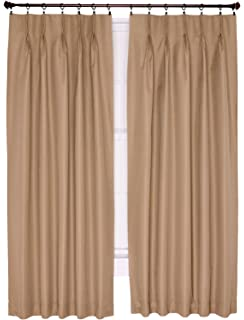 Ellis Curtain Crosby Thermal Insulated 48 By 63 Inch Pinch Pleated Foamback  Curtains, Linen