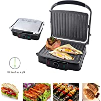 Sandwich Maker & Grill,Electric Heating Adjustable Temperature 180 Degrees for Home Kitchen,Silver