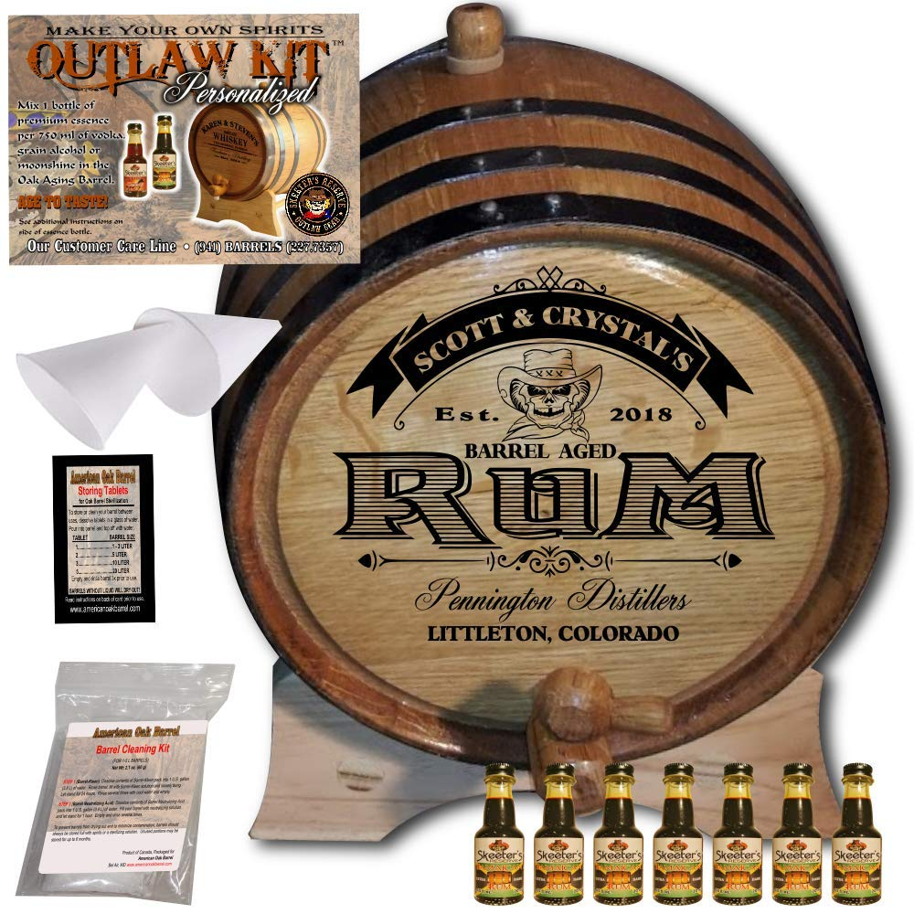 Personalized Rum Making Kit (100) - Create Your Own Dark Jamaican Rum - The Outlaw Kit from Skeeter's Reserve Outlaw Gear - MADE BY American Oak Barrel - (Oak, Black Hoops, 5 Liter)