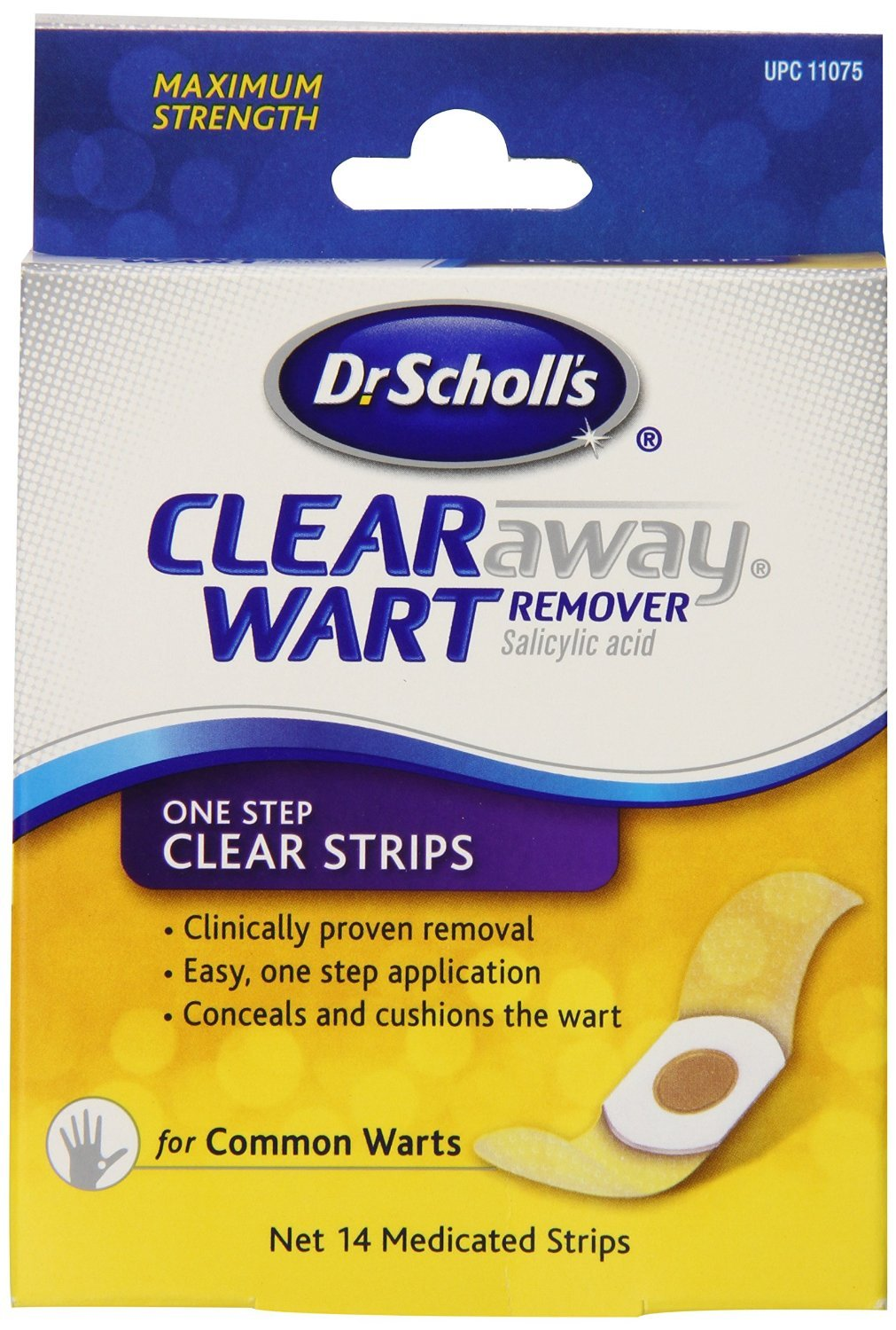 Dr Scholls, Clear Away One Step Salicylic Acid Plantar Acid Wart Remover pads - 14 Strips SCHERING-PLOUGH HEALTHCARE