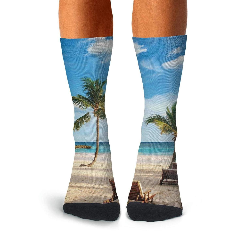 KCOSSH Tropical Coconut Palm Trees Beach Crazy Crew Sock Moisture Calf Socks for Mens