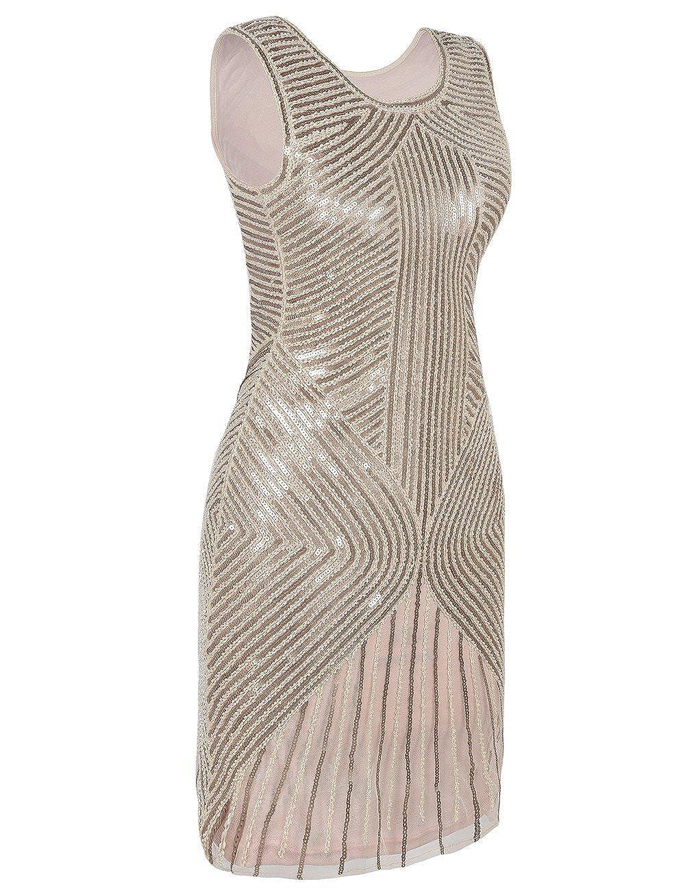 Kayamiya Womens 1920s Dress Beaded Sequined Embellished Flapper Evening Dress: Amazon.co.uk: Clothing
