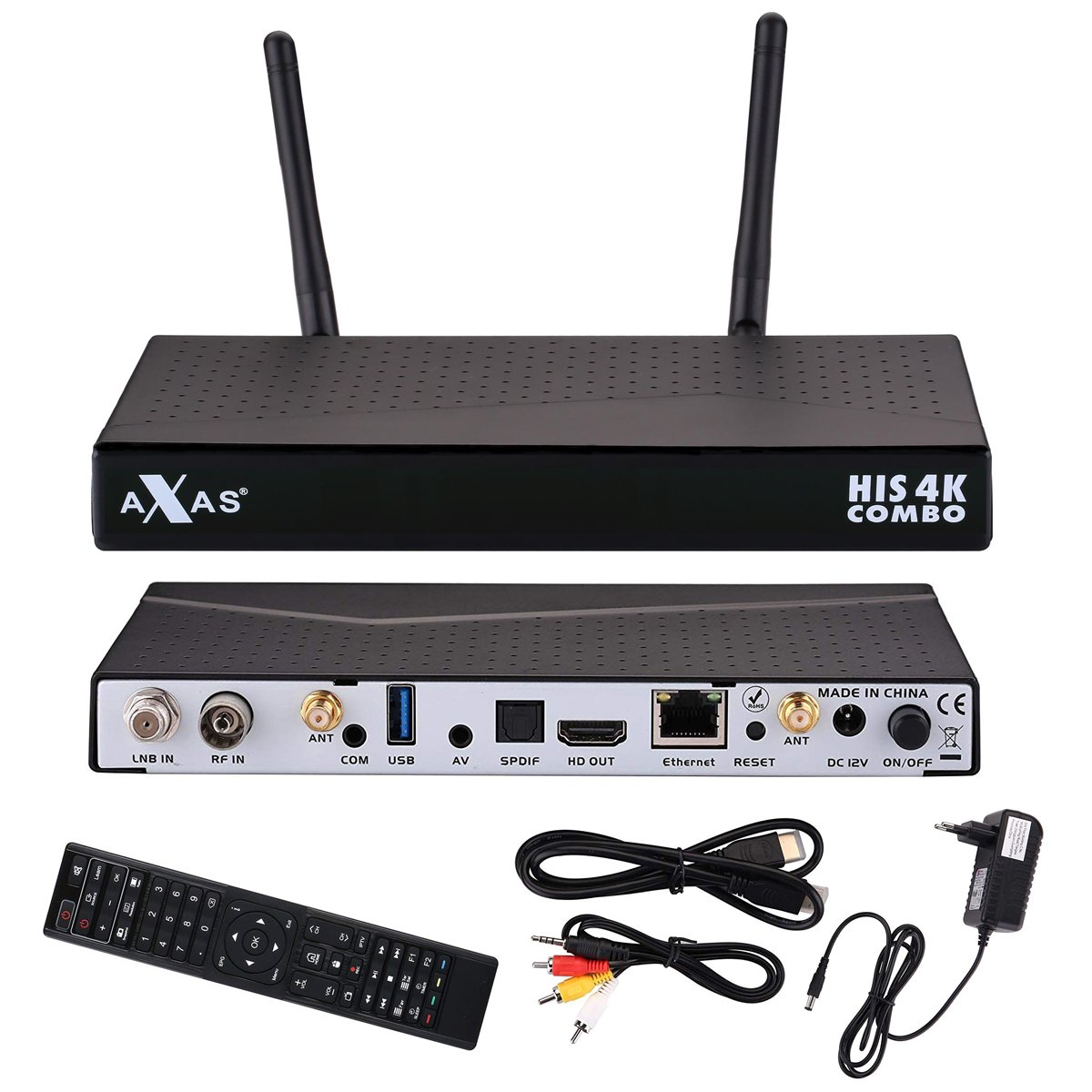 Axas His 4K Combo 1x DVB-S2y 1x DVB-C/T24K UHD H.265hevc E2Linux Receptor Satélite