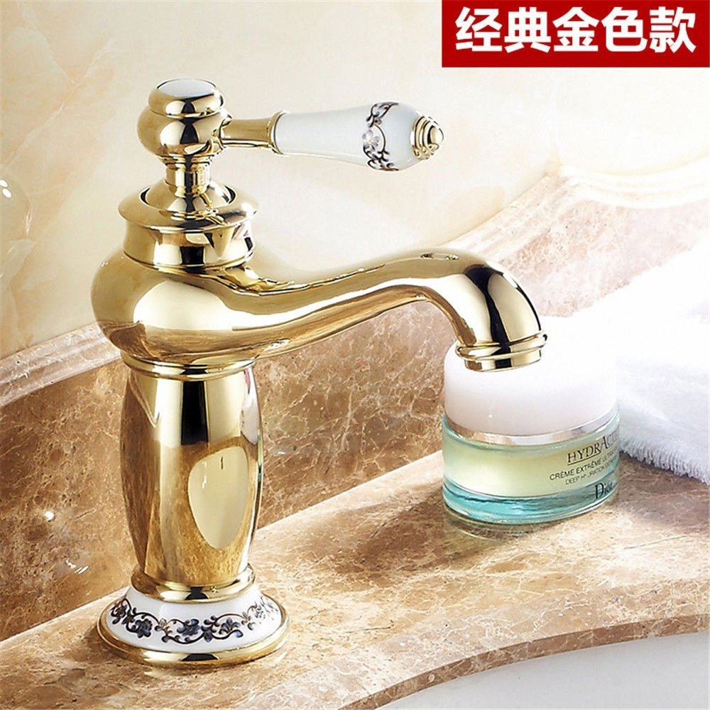 Gyps Faucet Basin Mixer Tap Waterfall Faucet Antique Bathroom Mixer Bar Mixer Shower Set Tap antique bathroom faucet The golden faucet hot and cold with a swivel basin mixer with high bluee enamel gold