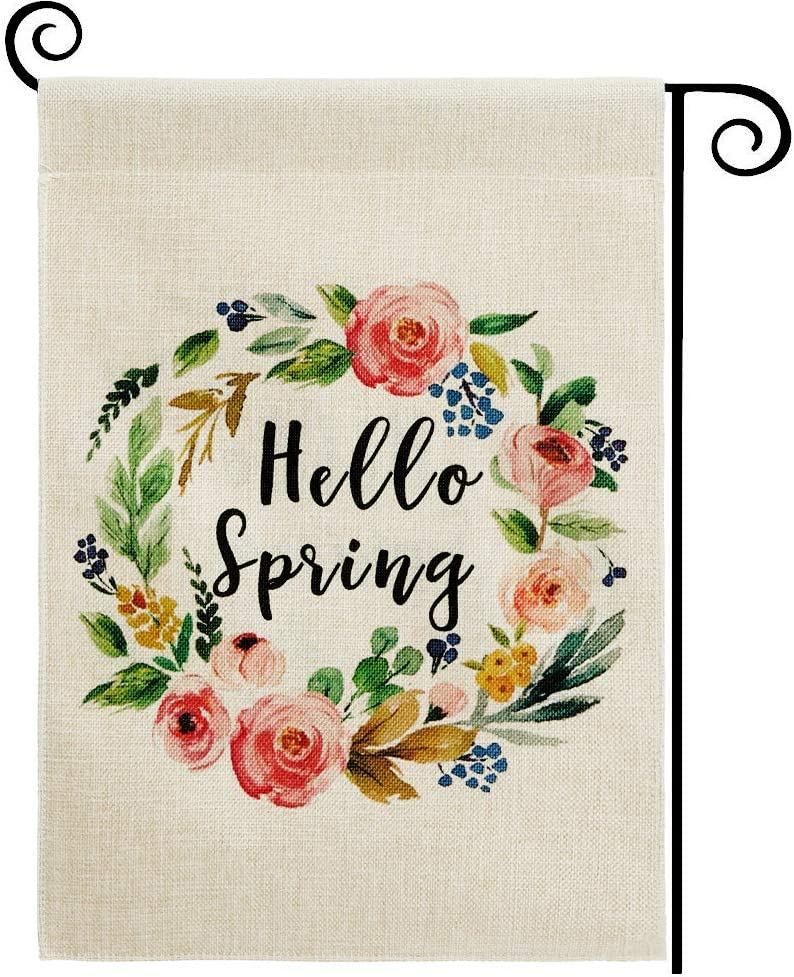 DOLOPL Spring Garden Flag 12.5x18 Inch Double Sided Decorative Hello Spring Watercolor Floral Wreath Small Yard House Garden Flag for Spring Outdoor Indoor Decoration
