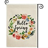 DOLOPL Spring Garden Flag 12.5x18 Inch Double Sided Decorative Hello Spring Watercolor Floral Wreath Small Yard House…