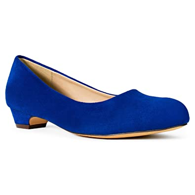 169ae01ed421 Women s Wide Fit Kitten Low Heel Extra Cushion Pumps Flats (True Wide Width)  Blue