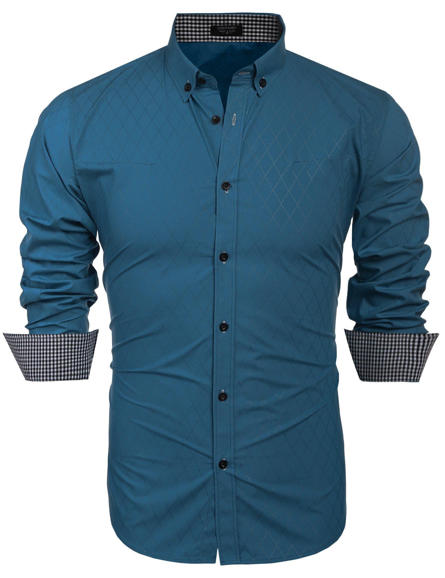 COOFANDY Men's Business Stylish Slim Fit Long Sleeve Casual Dress Shirt, Acid Blue, Small