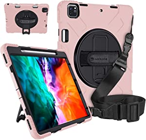 GROLEOA iPad Pro 12.9 Case 2020/2018 with Pencil Holder Support Charging 360° Rotating Stand Handle Shoulder Strap Shockproof Case Military-Grade Protection for iPad Pro 12.9 4th/3rd Generation Pink