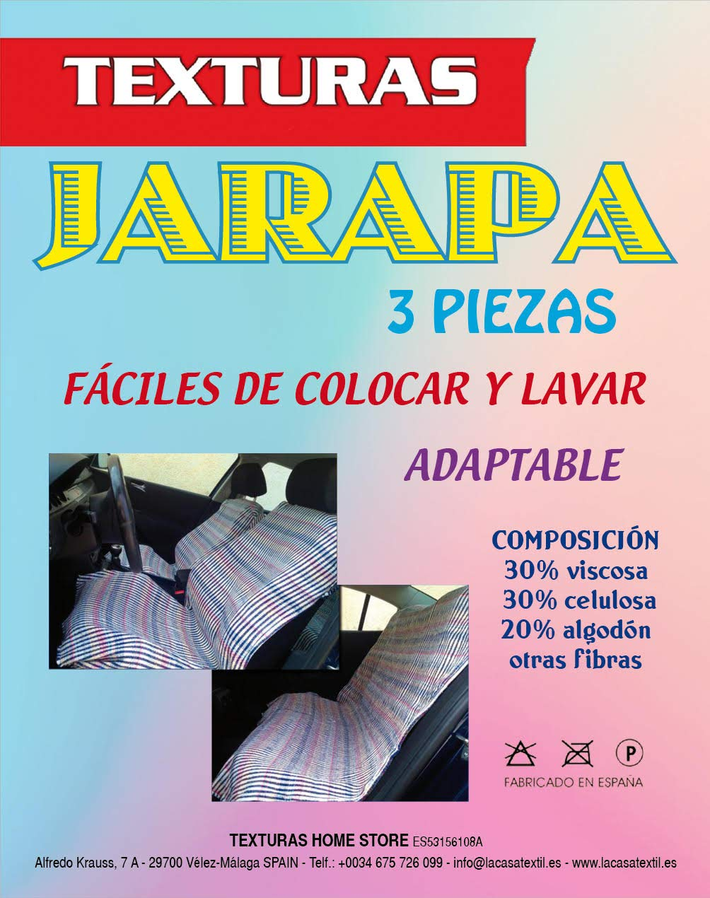 TEXTURAS HOME Set Harapas 3 Piezas Classic AUTOM/ÓVIL Rojo