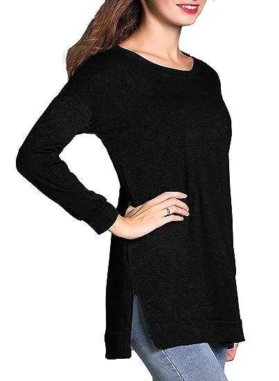 514cc6b6d8eb4b RJXDLT Women's Casual Tunics Short/Long Sleeve Round Neck Tunic Tops  Sweatshirt Loose Pullover Shirts