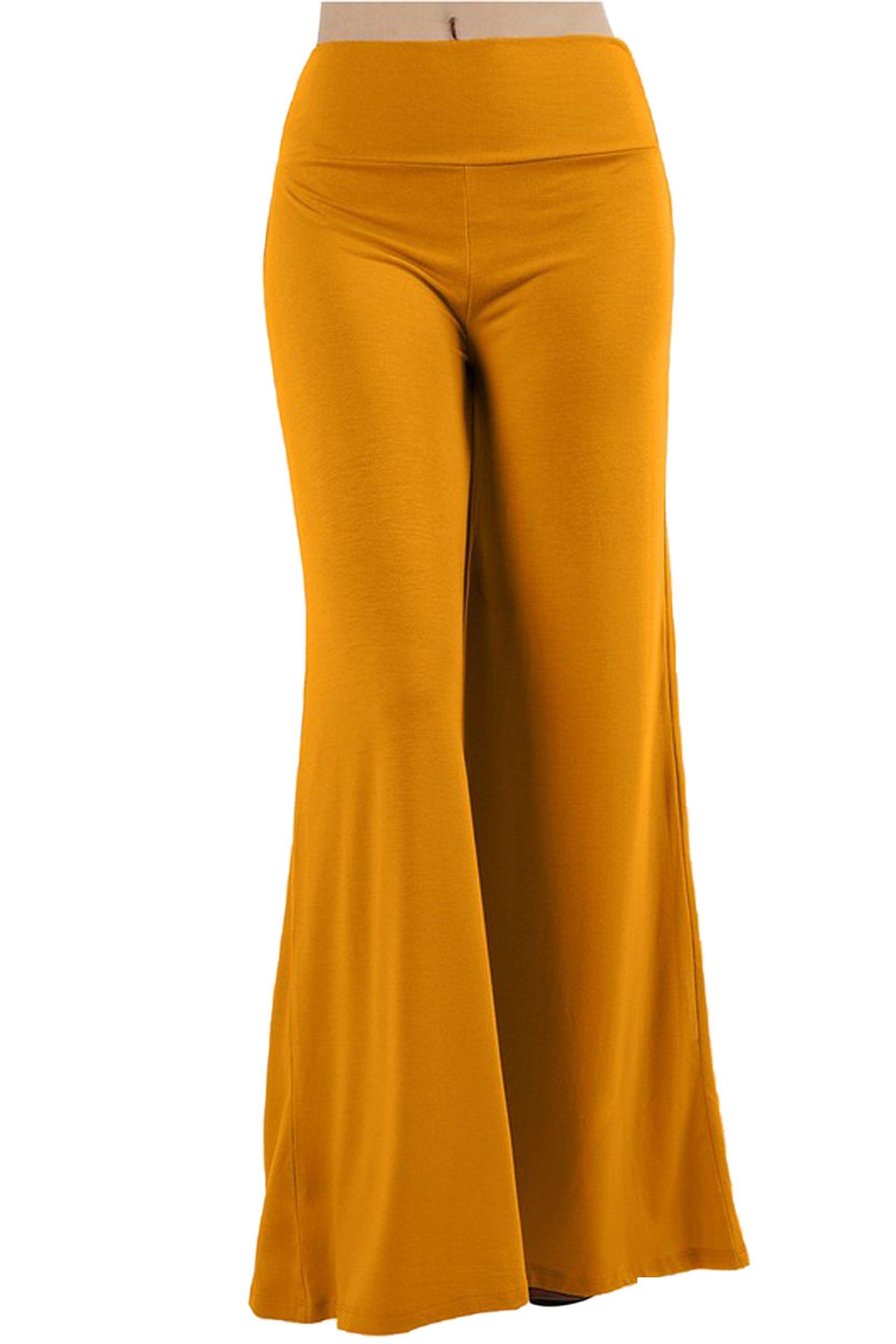 ViiViiKay Women's Maternity Wear Fold-over Waist Wide Leg Stretchy Palazzo Pants 79P_DKMUSTARD M