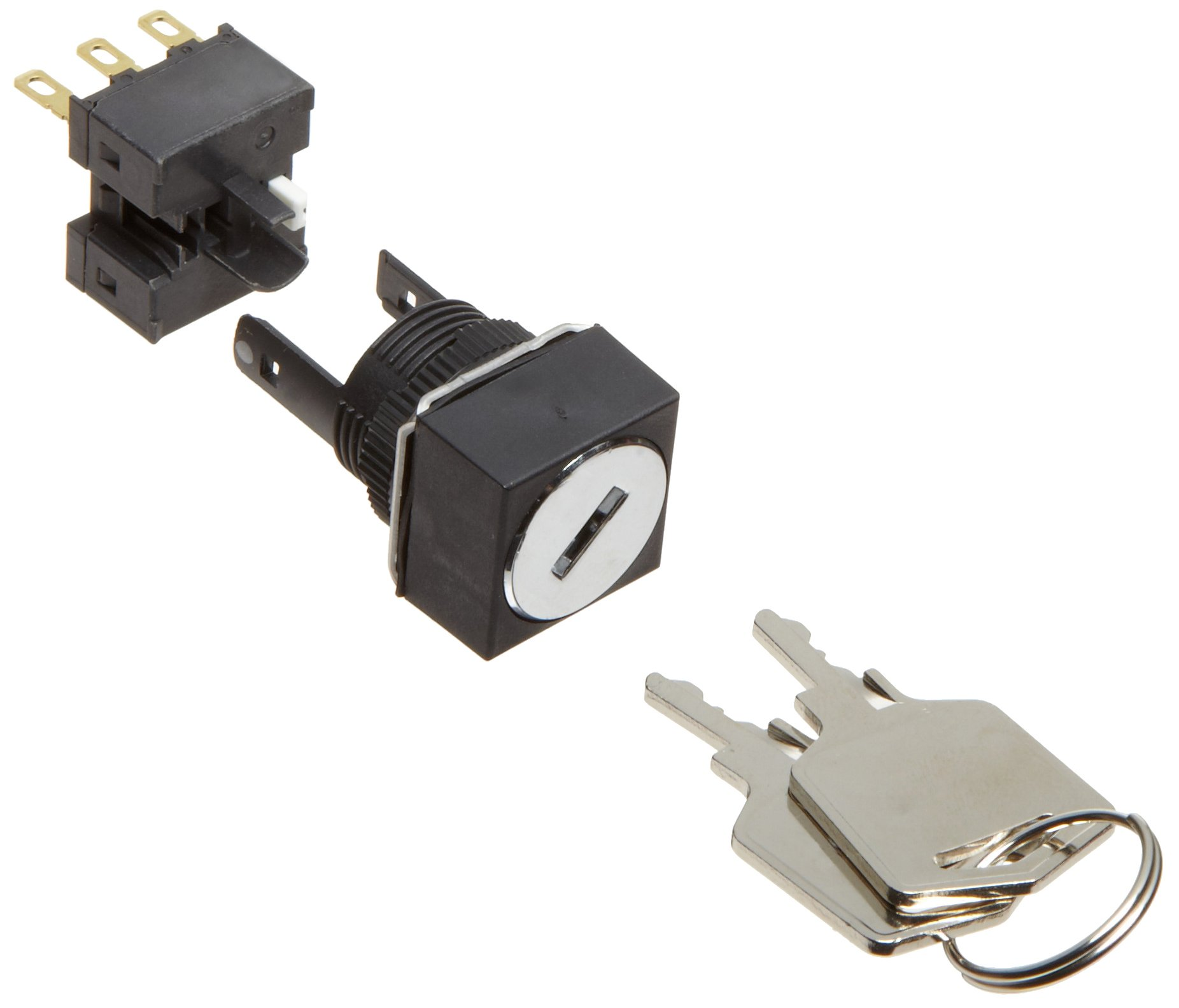 Omron A165K-A2AL-1 Key Type Selector and Switch, Solder Terminal, IP65 Oil Resistant, 16mm Mounting Aperture, 2 Notches, Automatic Reset Method, Left Key Release Postion, Square,Single Pole Double Throw Contacts