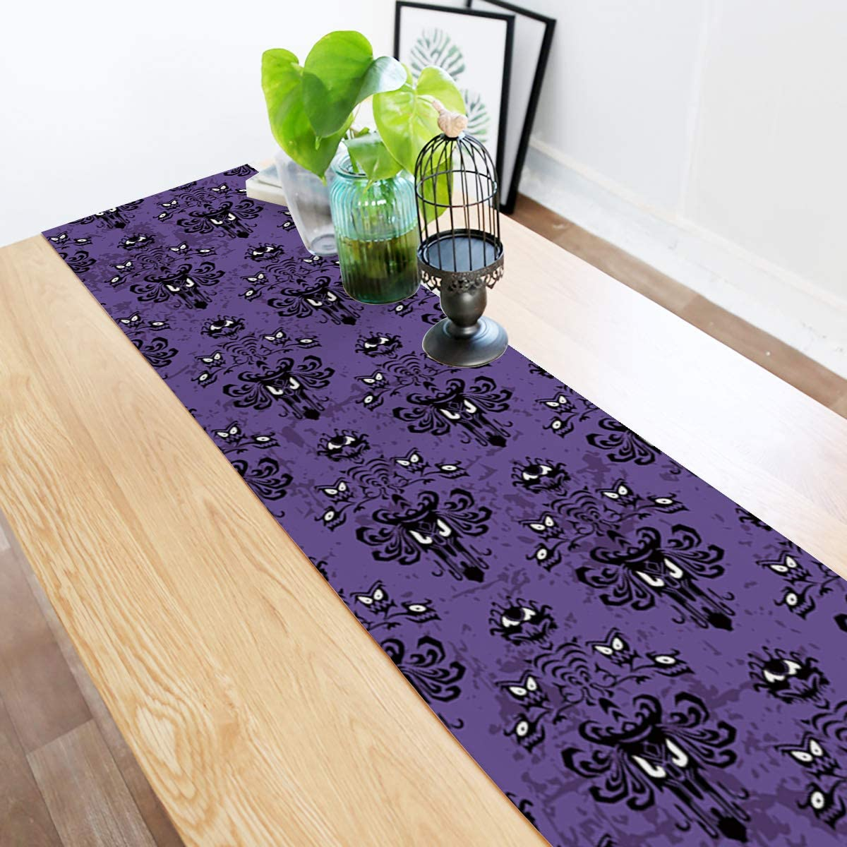 ARTSHOWING Halloween Table Runner Party Supplies Fabric Decorations for Wedding Birthday Baby Shower 13x70inch Haunted Mansion