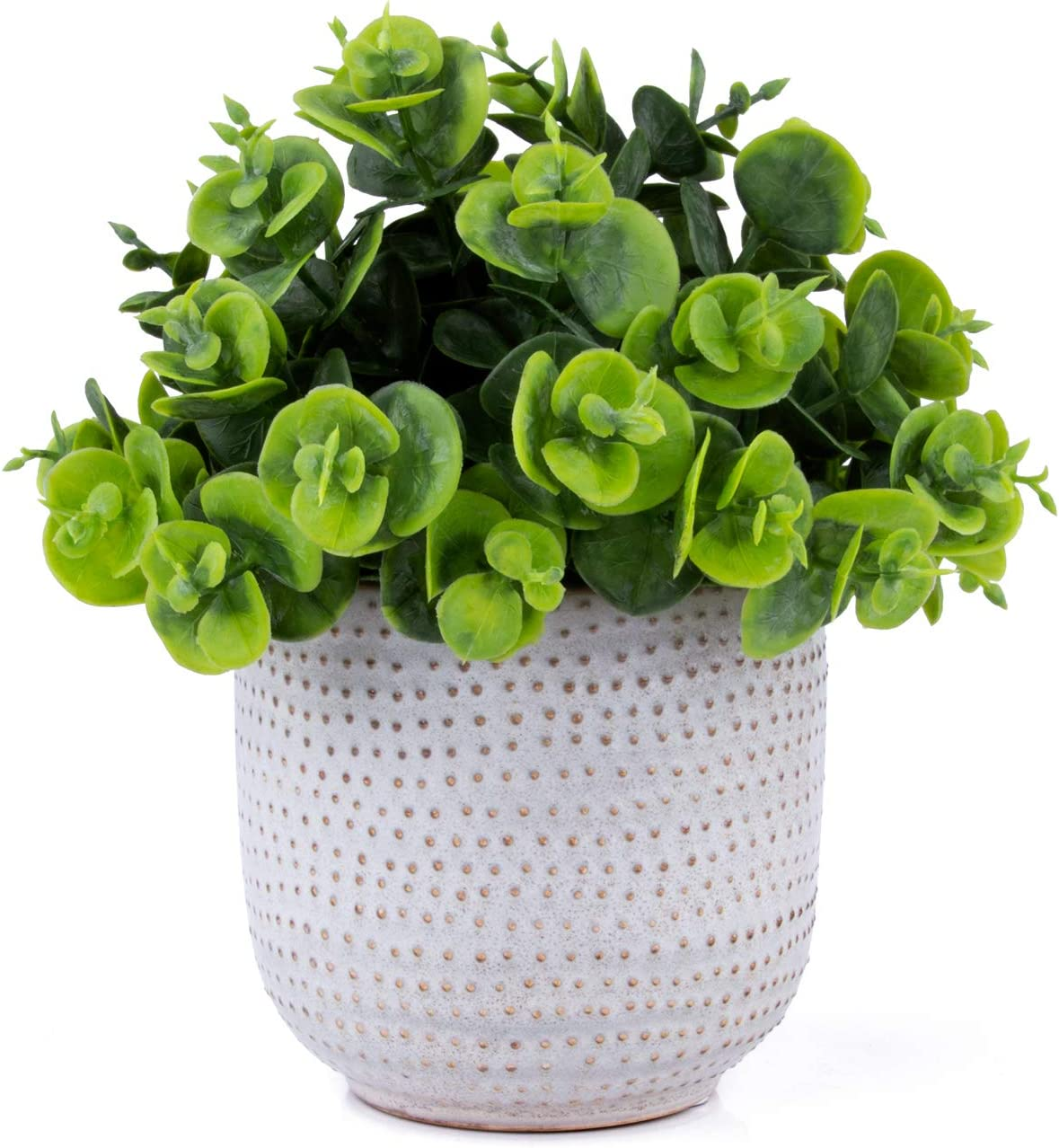 karlliu Artificial Plants Succulent Flowers with Ceramic Pot, Green Faux Potted Plants for Office Table Bathroom Greenery Room Home Decor