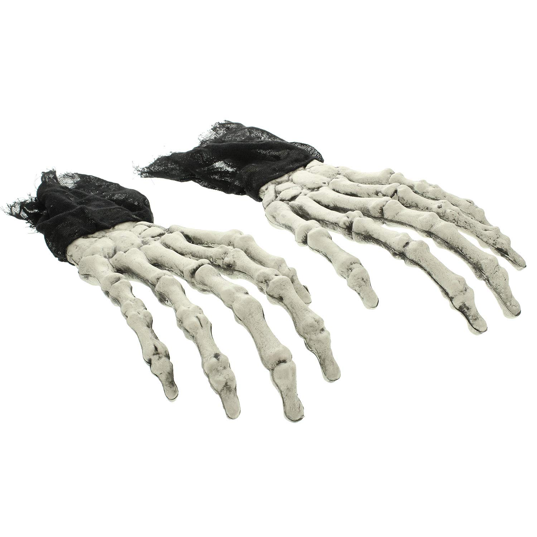Halloween Haunters Scary Oversized Zombie Skeleton Hands Pair - Prop Decoration by Halloween Haunters
