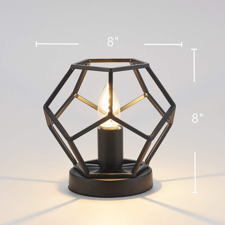 Metal Basket Base Table Lamp 8 X 8 Black Football Shape Accent