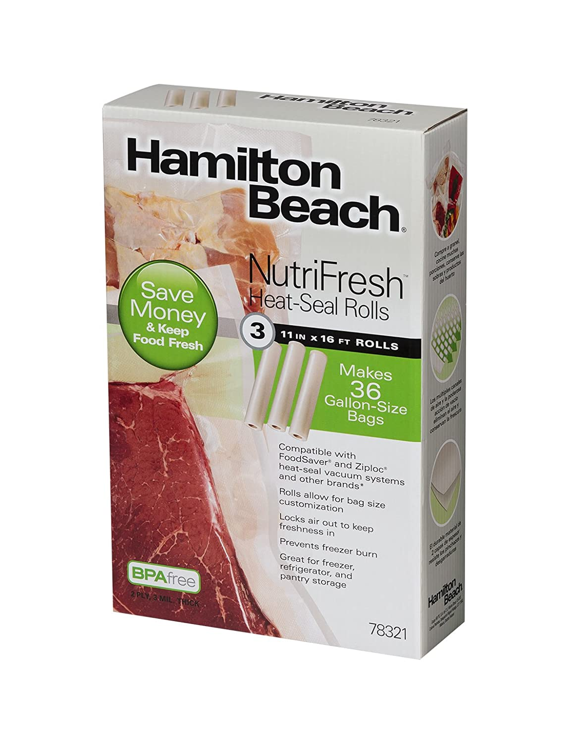 Hamilton Beach Vacuum Sealer, (3-Pack) 11 in x 16 ft Rolls for NutriFresh, FoodSaver & Other Heat-Seal Systems (78321)