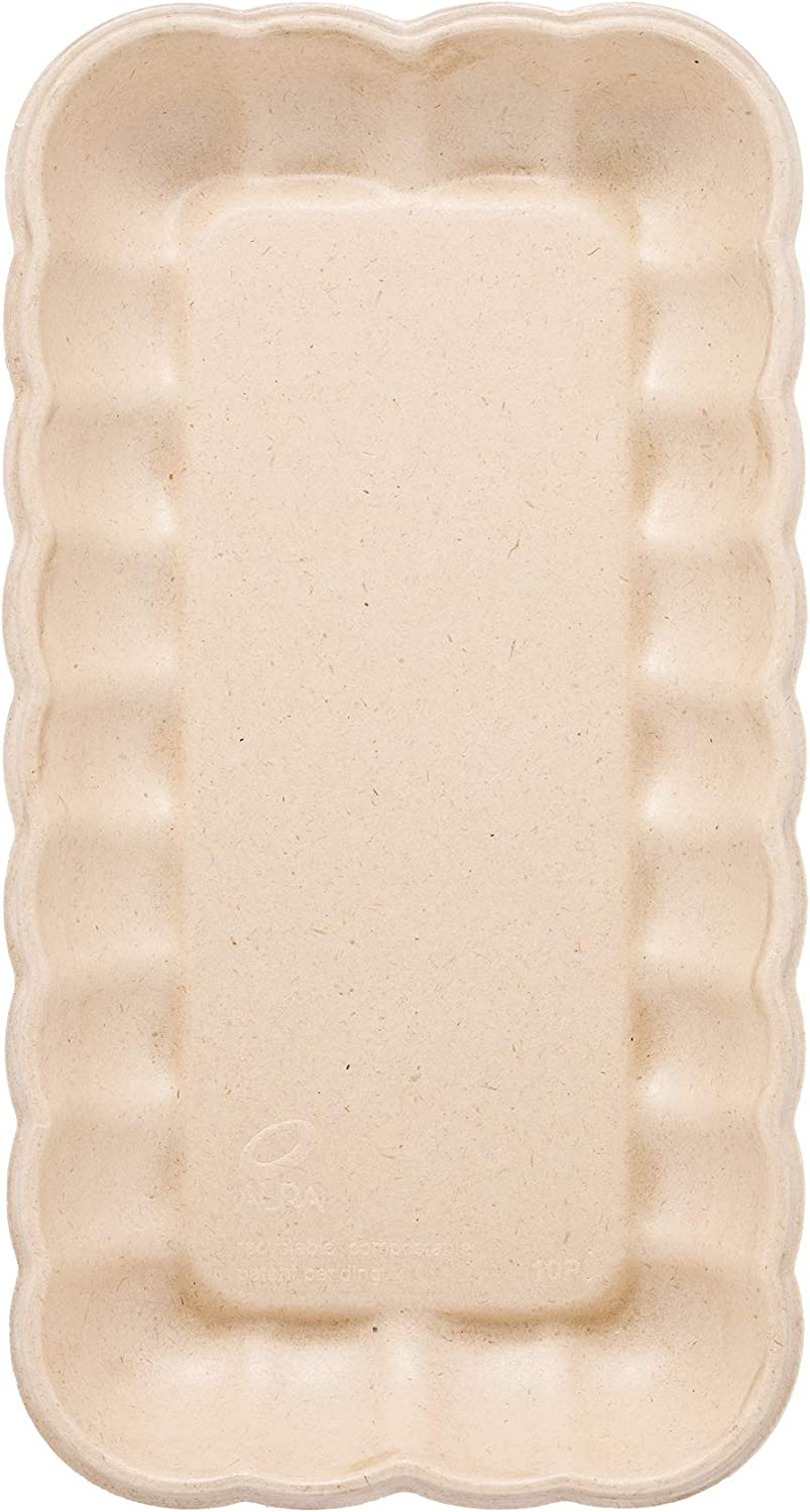 HARVEST PACK 11 x 6 inch Scalloped Rectangle Plates/Platters/Trays, Cloud Collection, Made from Compostable Plant Materials [100 COUNT]