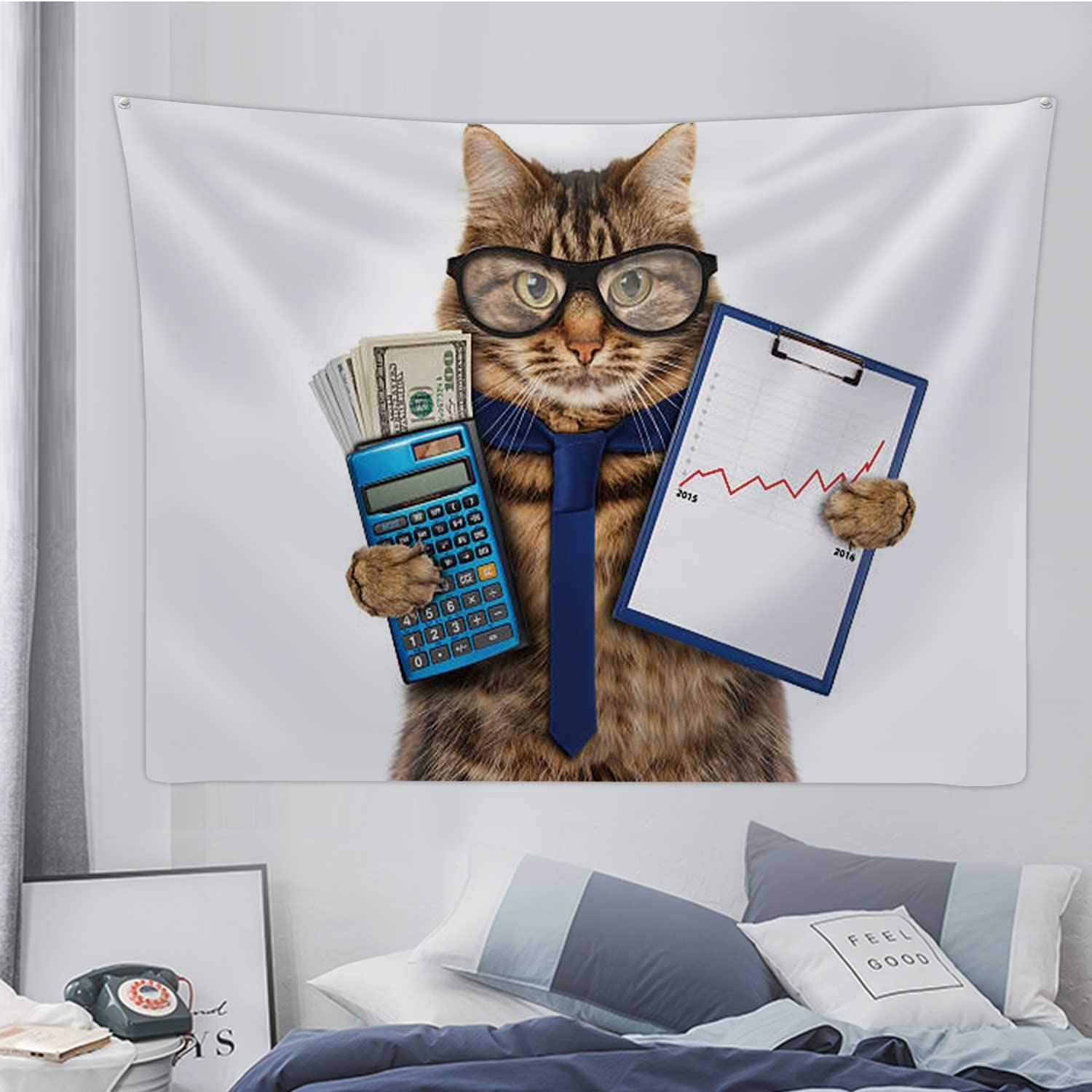 Hitecera Funny Cat with A Folder for Presentations.Domestic Cat,Tapestry Wall Hanging Financial Advisor Wall Art for Bedroom Decor 59.1X51.1in