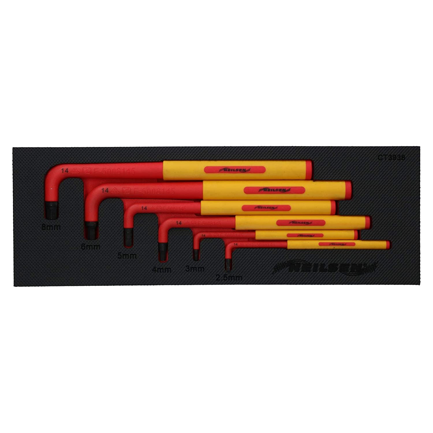 8mm 6pc Up to 1000V AC Protection VDE Insulated Allen Hex Keys 2.5mm