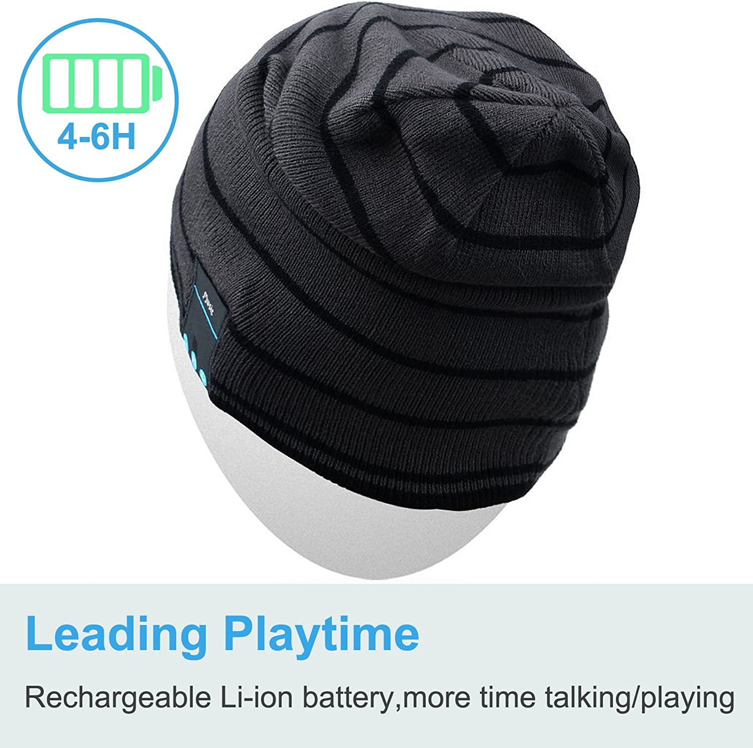 Rotibox Bluetooth Beanie Hat Wireless Headphone for Outdoor Sports Xmas Gifts : Clothing