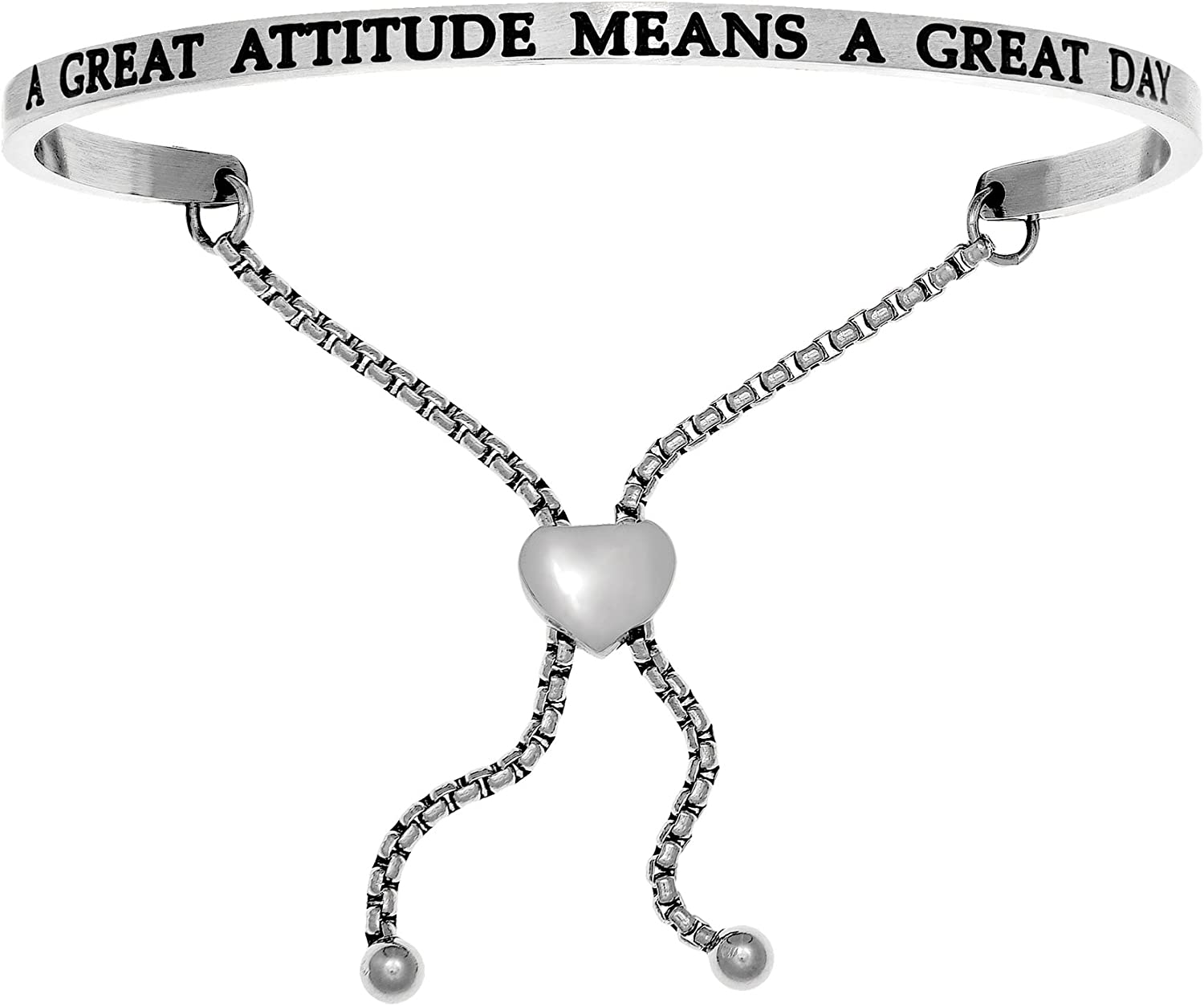 Amazon Com Intuitions Stainless Steel A Great Attitude Means A Great Day Diamond Accent Adjustable Bracelet Jewelry