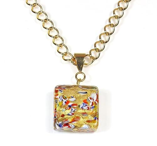 14948b0d2012 Style-ARThouse Klimt colección nº 2 quot  Goldleaf Colgante Collar de  Cristal de Murano