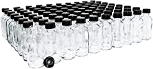 (Pack of 80) 2 oz. Clear Boston Round with Black Poly Cone Cap
