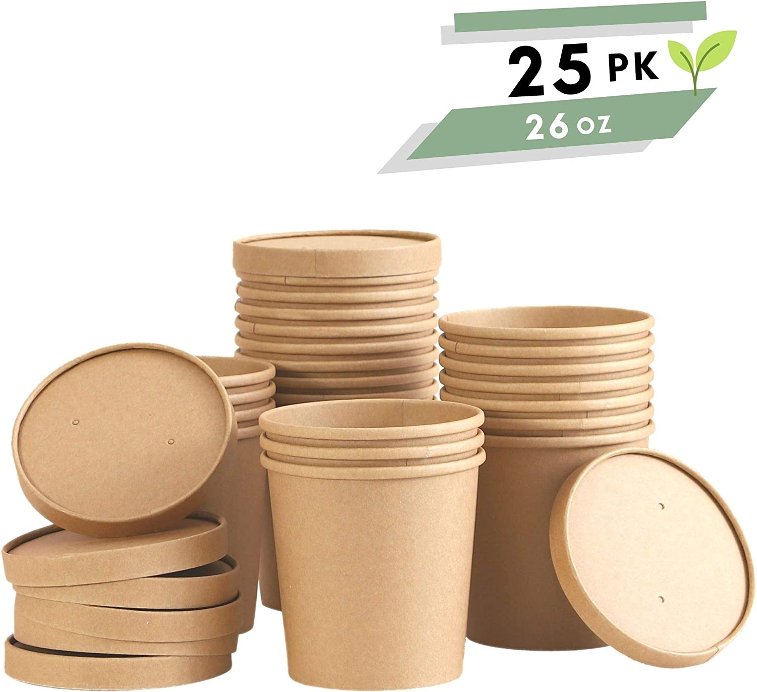 Disposable Paper Food Containers with Lids - 25 Pack 26 oz | Take out Food Containers | To Go Containers with Lids | Party Supplies Treat Cups for Sundae, Frozen Yogurt, Soup, Dessert