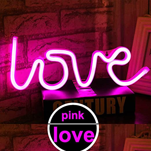 LED Love Neon Light Sign - Neon Signs Pink Love Light up Signs Wall ...