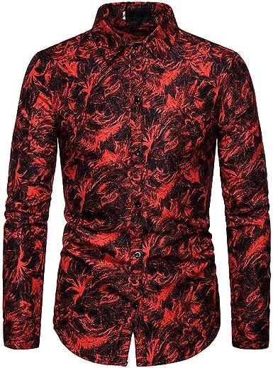 Camisa Hawaiana Hombre,Moda Casual Manga Larga Blusa Cómodo y ...