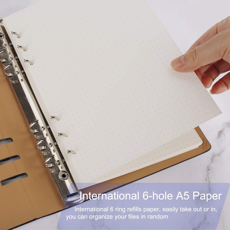 Papel de Recambio A5 Hojas de Recambio Papel de Punto A5 con 6 Anillas para Agenda Filofax Bullet 180 Hojas//360 P/áginas
