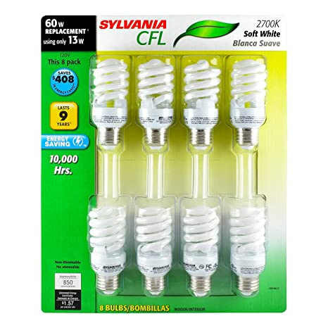 Sylvania 13W CFL T2 Spiral Light Bulb, 60W Equivalent, 850 Lumens, 2700K Soft White, Non-Dimmable (8-Pack) - - Amazon.com