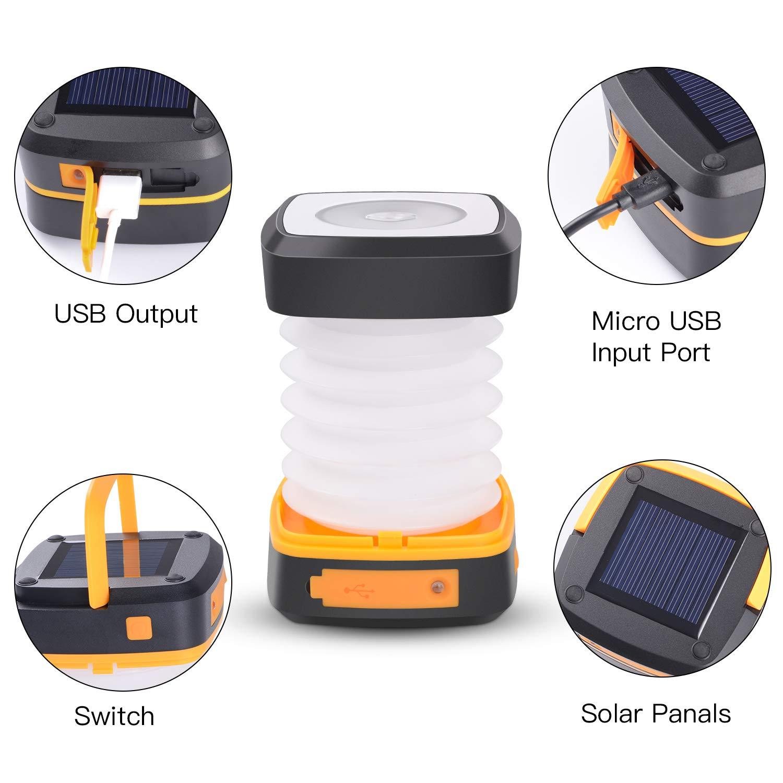 Zanflare LED Camping Linterna Paneles Solares La situaci/ón urgente Luz de Camping Plegable y Recargable con Puerto USB y Circuito integrado de Protecci/ón Inteligente para las actividades Al Aire Libre