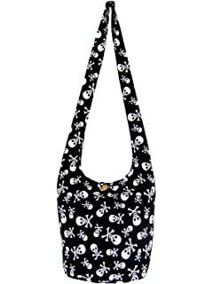 39f6fb2015 Fully Lined Skull Hippie Hobo Sling Crossbody Shoulder Bag Medium Black  Blue Orchid