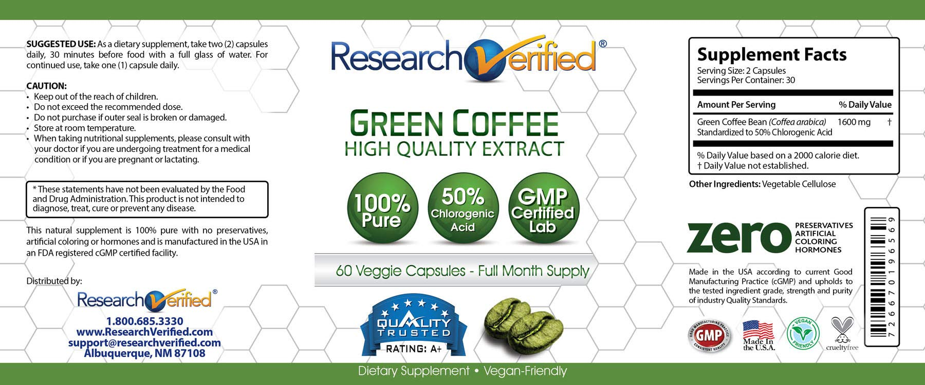 Green Coffee Bean Extract - One Month Supply - 100% Pure by Research Verified - 50% Chlorogenic Acid - 365 Day 100% Money Back Guarantee - Try Risk Free for Fast and Easy Weight Loss by Research Verified (Image #3)