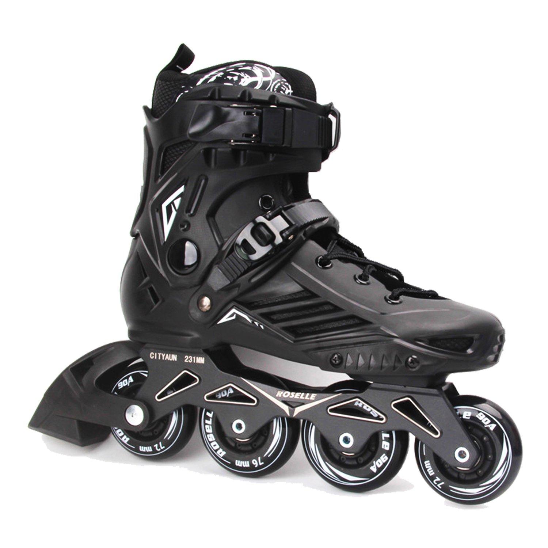 ROSELLE Adult Fitness Inline Skate, Black Performance Inline Skates (Men 7,Women 8)