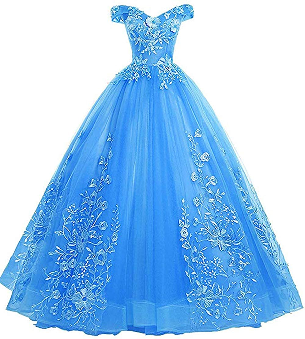 bluee Womens Off Shoulder Quinceanera Dresses Lace Applique Beaded Prom Dresses A Line Tulle Evening Formal Gowns