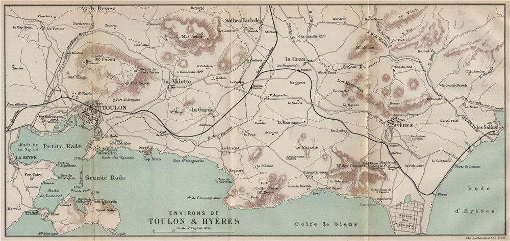 Amazon.com: ENVIRONS OF TOULON & HYÈRES. Var - 1890 - old ...