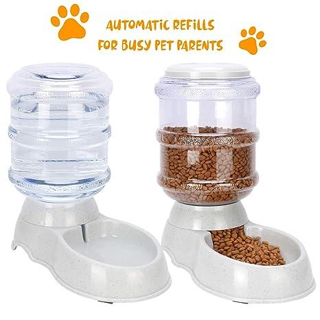 Made King - Comederos automáticos para Mascotas, para Perros y Gatos con alimento y dispensador