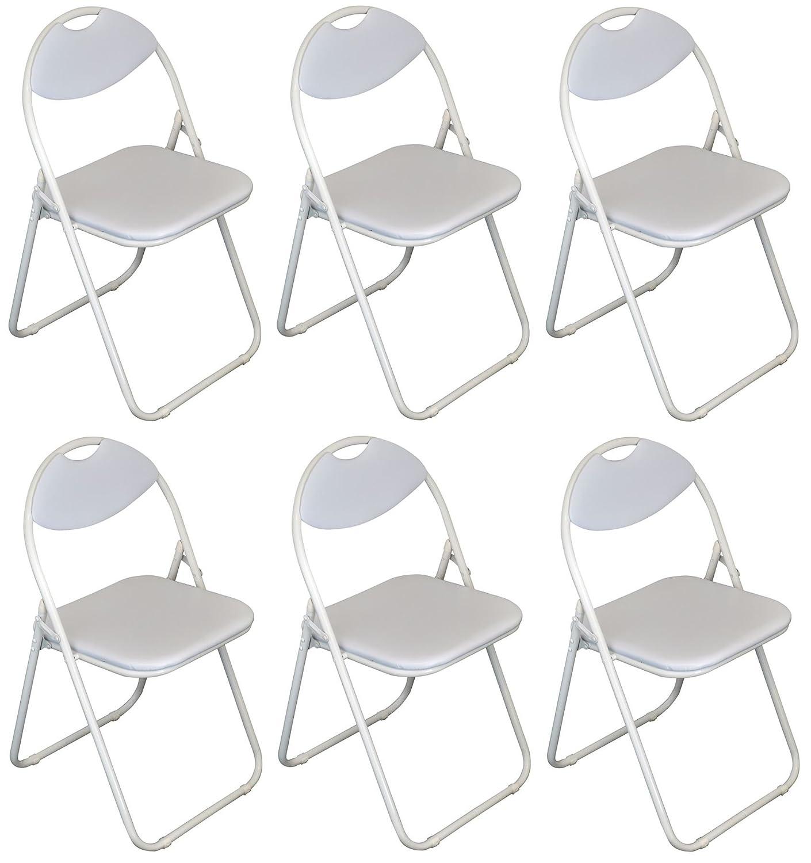Bianco imbottito, pieghevole, scrivania sedia / frame Bianco - Confezione da 6 Harbour Housewares