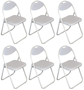 Harbour Housewares Silla plegable acolchada con marco blanco - 6 sillas