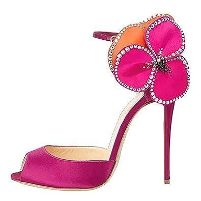 Arc-En-Ciel Damenschuhe Blickzehe Absatz Blume Sandalen-Rose-us5 tUSzaO